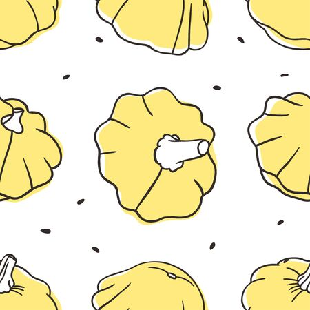 Doodle squash seamless pattern. Hand drawn stylish fruit and vegetable. Vector artistic drawing fresh organic food. Summer illustration vegan ingrediens for smoothies  イラスト・ベクター素材