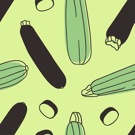 Doodle zucchini seamless pattern. Hand drawn stylish fruit and vegetable. Vector artistic drawing fresh organic food. Summer illustration vegan ingrediens for smoothies 向量圖像
