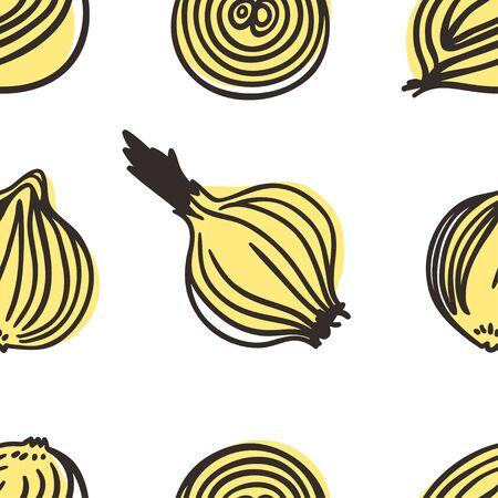 Doodle onion seamless pattern. Hand drawn stylish fruit and vegetable. Vector artistic drawing fresh organic food. Summer illustration vegan ingrediens for smoothies  イラスト・ベクター素材