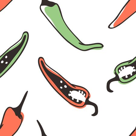 Doodle chili pepper seamless pattern. Hand drawn stylish fruit and vegetable. Vector artistic drawing fresh organic food. Summer illustration vegan ingrediens for smoothies  イラスト・ベクター素材