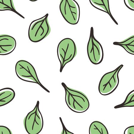 Doodle spinach seamless pattern. Hand drawn stylish fruit and vegetable. Vector artistic drawing fresh organic food. Summer illustration vegan ingrediens for smoothies