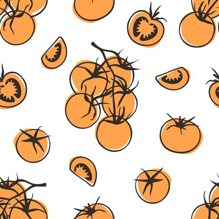 Doodle seamless pattern tomato. Hand drawn stylish fruit and vegetable. Vector artistic drawing fresh organic food. Summer illustration vegan ingrediens for smoothies Stock fotó - 147796748