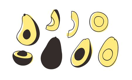 Doodle avocado. Hand drawn stylish fruit and vegetable. Vector artistic drawing fresh organic food. Summer illustration vegan ingrediens for smoothies