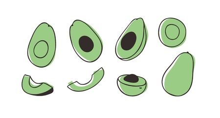 Doodle avocado. Hand drawn stylish fruit and vegetable. Vector artistic drawing fresh organic food. Summer illustration vegan ingrediens for smoothies Stock fotó - 147729932