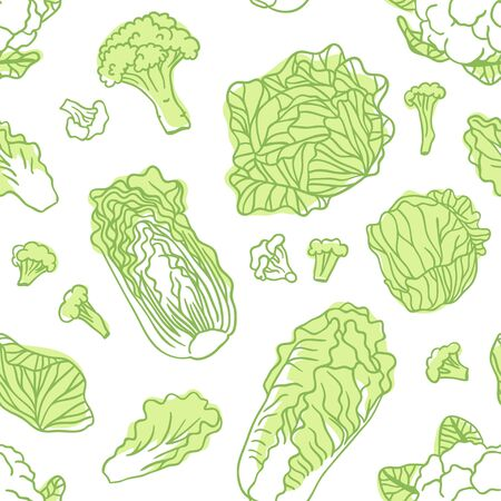 Doodle cabbage seamless pattern. Hand drawn stylish fruit and vegetable. Vector artistic drawing fresh organic food. Summer illustration vegan ingrediens for smoothies Stock fotó - 147796895