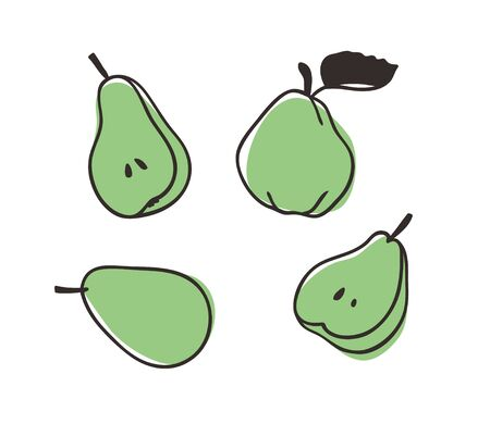 Doodle pear. Hand drawn stylish fruit and vegetable. Vector artistic drawing fresh organic food. Summer illustration vegan ingrediens for smoothies Stock fotó - 148508753