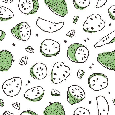Doodle seamless pattern with Tropical Anona . Hand drawn stylish fruit and vegetable. Vector artistic drawing fresh organic food. Summer illustration vegan ingrediens for smoothies Stock fotó - 148508754