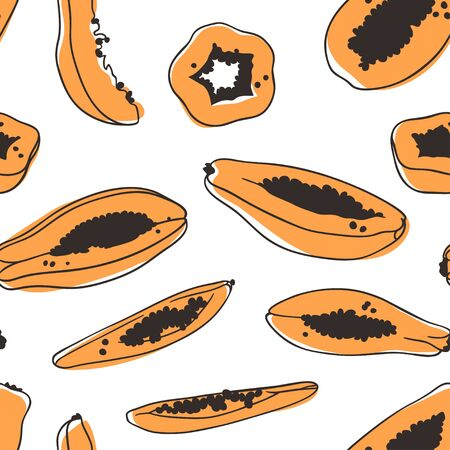 Doodle seamless pattern with Tropical papaya. Hand drawn stylish fruit and vegetable. Vector artistic drawing fresh organic food. Summer illustration vegan ingrediens for smoothies 向量圖像