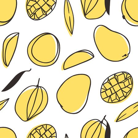 Doodle seamless pattern with Tropical Mango . Hand drawn stylish fruit and vegetable. Vector artistic drawing fresh organic food. Summer illustration vegan ingrediens for smoothies  イラスト・ベクター素材