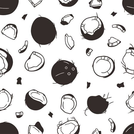 Doodle seamless pattern with Tropical coconut. Hand drawn stylish fruit and vegetable. Vector artistic drawing fresh organic food. Summer illustration vegan ingrediens for smoothies