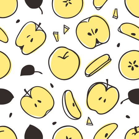 Doodle seamless pattern with apple. Hand drawn stylish fruit and vegetable. Vector artistic drawing fresh organic food. Summer illustration vegan ingrediens for smoothies Stock fotó - 148508764