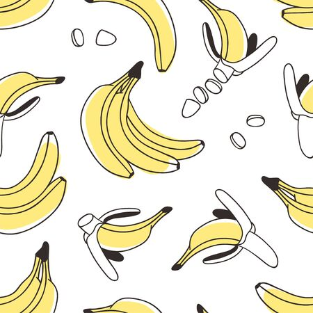 Doodle seamless pattern with banana. Hand drawn stylish fruit and vegetable. Vector artistic drawing fresh organic food. Summer illustration vegan ingrediens for smoothies