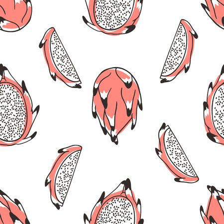 Doodle seamless pattern with tropical fruit. Hand drawn stylish vegetable. Vector artistic drawing fresh organic food. Summer illustration vegan ingrediens for smoothies  イラスト・ベクター素材