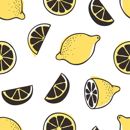Doodle seamless pattern with lemon. Hand drawn stylish fruit and vegetable. Vector artistic drawing fresh organic food. Summer illustration vegan ingrediens for smoothies