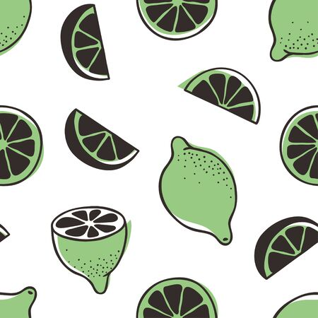 Doodle seamless pattern with lime. Hand drawn stylish fruit and vegetable. Vector artistic drawing fresh organic food. Summer illustration vegan ingrediens for smoothies