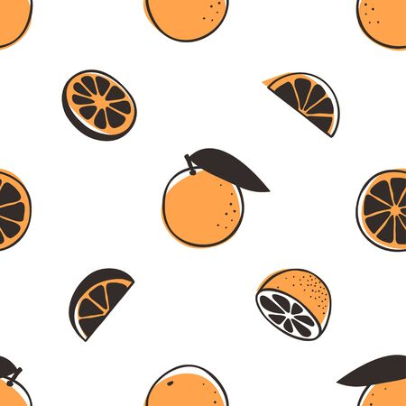 Doodle seamless pattern with orange. Hand drawn stylish fruit and vegetable. Vector artistic drawing fresh organic food. Summer illustration vegan ingrediens for smoothies