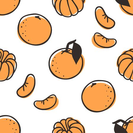 Doodle seamless pattern with mandarin. Hand drawn stylish fruit and vegetable. Vector artistic drawing fresh organic food. Summer illustration vegan ingrediens for smoothies