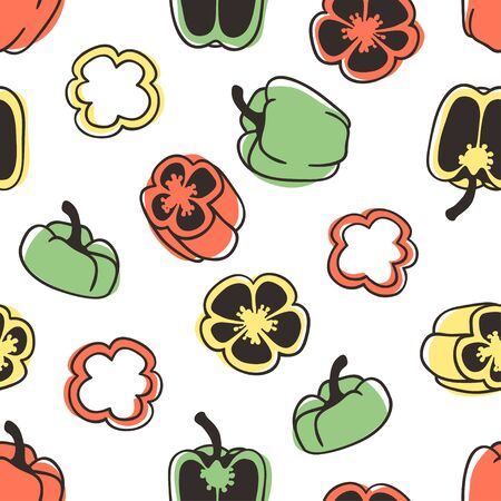 Doodle seamless pattern with pepper. Hand drawn stylish fruit and vegetable. Vector artistic drawing fresh organic food. Summer illustration vegan ingrediens for smoothies  イラスト・ベクター素材