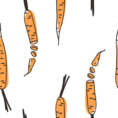 Doodle seamless pattern with carrot. Hand drawn stylish fruit and vegetable. Vector artistic drawing fresh organic food. Summer illustration vegan ingrediens for smoothies