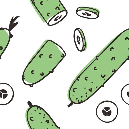 Doodle seamless pattern with cucumber. Hand drawn stylish fruit and vegetable. Vector artistic drawing fresh organic food. Summer illustration vegan ingrediens for smoothies 向量圖像