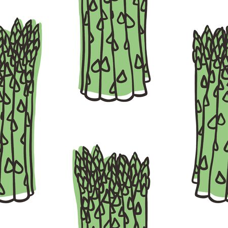 Doodle seamless pattern with asparagus. Hand drawn stylish fruit and vegetable. Vector artistic drawing fresh organic food. Summer illustration vegan ingrediens for smoothies