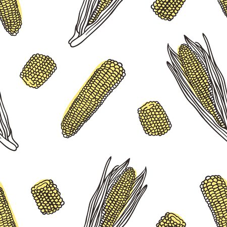 Doodle seamless pattern with corn. Hand drawn stylish fruit and vegetable. Vector artistic drawing fresh organic food. Summer illustration vegan ingrediens for smoothies