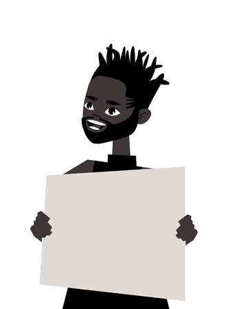 Young Black Male Character with poster. Cartoon Style People and Black Lives Matter Protest Board. Isolated Guy and banner. Flat Illustration African American Man Face. Hand Drawn Vector Drawing Vettoriali