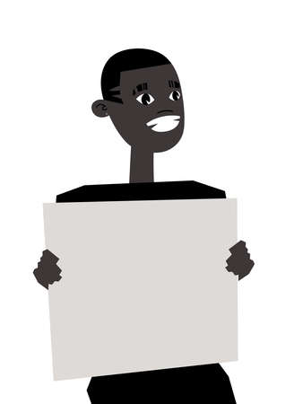 Young Black Male Character with poster. Cartoon Style People and Black Lives Matter Protest Board. Isolated Guy and banner. Flat Illustration African American Man Face. Hand Drawn Vector Drawing Stock Illustratie