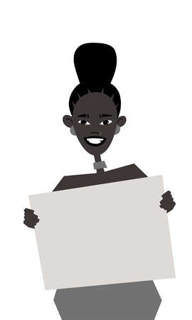 Young Black Female Character with Poster. Cartoon Style People and Black Lives Matter Protest Board. Isolated Girl and banner. Flat Illustration African American Woman Face. Hand Drawn Vector Drawing