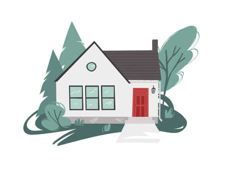 Hand Drawn Cartoon House in Garden Background. Flat style illustration Cozy Home. Little Vector Cottage Drawing. Creative Digital Art Work