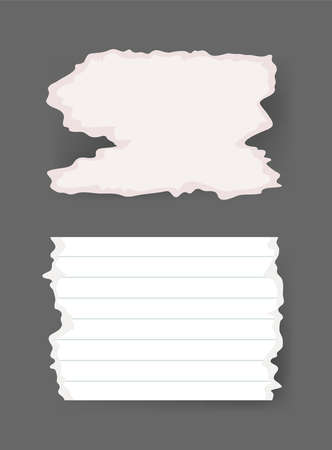Vector Illustration Clip Art Scraps Papers. Set of Notebook Pieces. Torn Page Isolated Objects