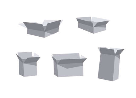 Carton Open Recycling Boxes Set. Cartoon Style Illustration Delivery Packaging. Flat Graphic Design Forwarding Clip Art. Vector Collection Mockup Isolated on White Background