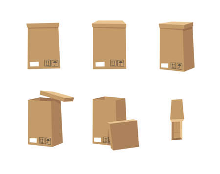 Carton Open and Closed Recycling Boxes Set. Cartoon Style Illustration Delivery Packaging. Flat Graphic Design Forwarding Clip Art. Vector Collection Mockup Isolated on White Background