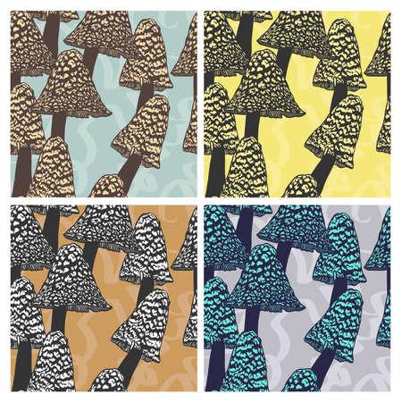 Hand drawn vector pattern. Seamless pattern with mystical mushrooms. Creative black contour art work. Hand drawn illustration magic mushrooms. Witchcraft seamless pattern. Stock Illustratie