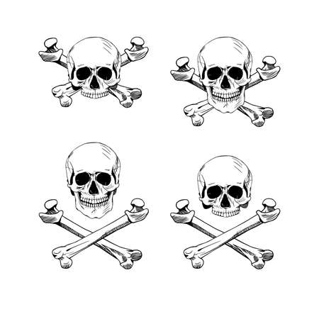 Hand drawn illustration skulls. Hand drawn set of skulls and bones. Vector art. Vector black and white tattoo skull illustration Stock Illustratie