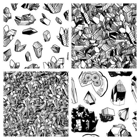 Set of mineralogy patterns. Black and white crystals and minerals. Vector seamless patterns with crystals and minerals. Hand drawn illustration. Hand drawn polygonal abstract background