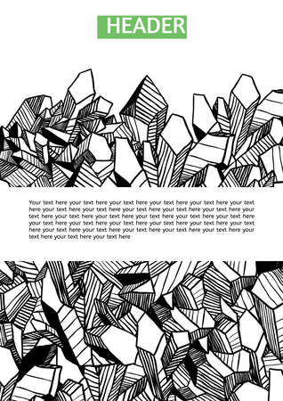 Set of vector template for your design with crystals. Black contour.