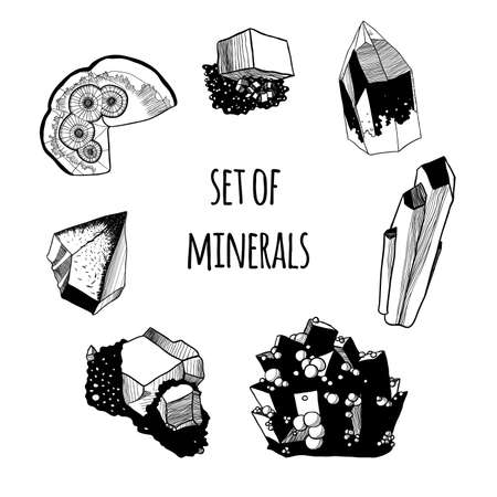 Set of crystals. Black contour, white background.