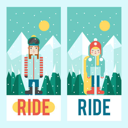 Set of template designs for flyer or phone cover. Cute flat style. Snowboarding and winter time. Stock Illustratie