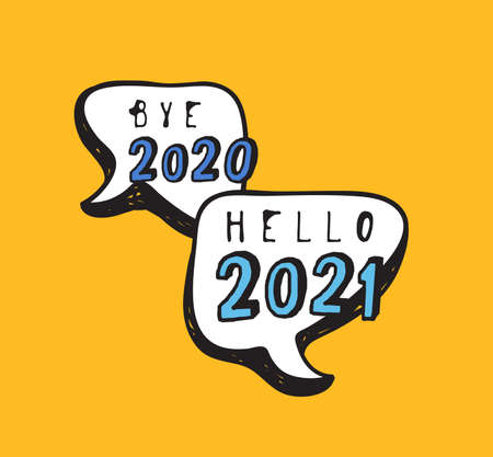 Hand Drawn Speech Bubbles with Text about New Year. Vector pop art object. Doodle elements for dialog