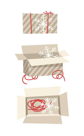Cartoon Illustration Christmas Gift Box isolated. Creative Flat Style Art Work Collection. Actual vector drawing of Holiday Things Packing. Cozy Winter Decoration set