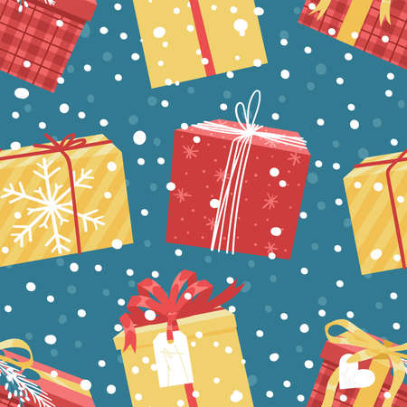 Cartoon Seamless Pattern with Snowy Christmas Gift Box. Creative Flat Style Art Work Collection. Actual vector drawing of Holiday Things Packing. Cozy Winter Illustration Illustration