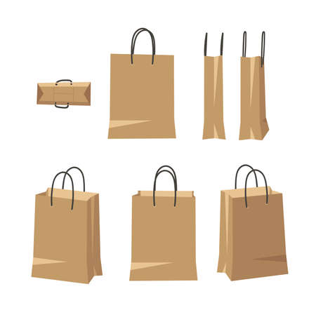 Vertical Carton Bag for Wear or Beauty Product with Handle Cord. Cartoon Style Illustration Delivery Pack. Flat Graphic Design Forwarding Clip Art. Vector Collection Mockup Isolated