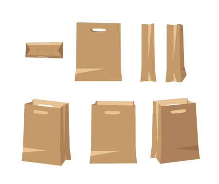 Vertical Carton Bag for Wear or Beauty Products with Handle. Cartoon Style Illustration Delivery Pack. Flat Graphic Design Forwarding Clip Art. Vector Collection Mockup Isolated on White Background Illustration