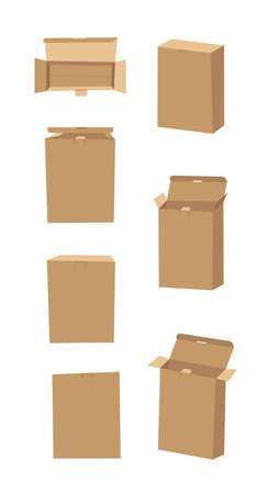 Vertical Carton Assembly Box for Technological and Electronic Products. Cartoon Style Illustration Delivery Packaging.