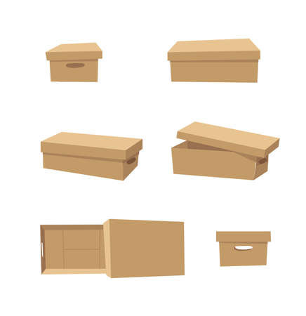 Carton Open and Closed Recycling Box with Perforation for Hands. Cartoon Style Illustration Delivery Handle Packaging. Flat Graphic Design Forwarding Clip Art. Vector Collection Mockup Isolated
