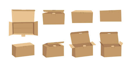 Horizontal Carton Assembly Box for Technological and Electronic Products. Cartoon Style Illustration Delivery Packaging.