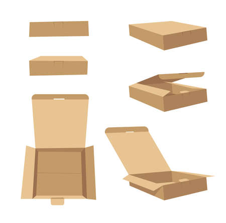 Square Carton Assembly Box for Technological and Electronic Products. Cartoon Style Illustration Delivery Packaging. Illustration