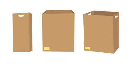 Carton Open and Closed Recycling Box with Perforation for Hands. Cartoon Style Illustration Delivery Handle Packaging.
