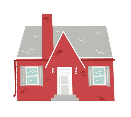 Hand Drawn Cartoon House on White Background Isolated. Flat style illustration Cozy Home. Little Vector Cottage Drawing. Creative Digital Art Work